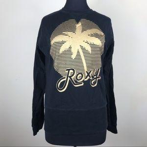 Roxy Black & Gold Palm Tree Sweatshirt Top